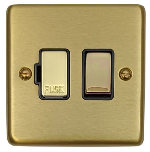 G&H CSB357 Standard Plate Satin Brushed Brass 1 Gang Fused Spur 13A Switched